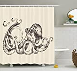 Ambesonne Octopus Decor Collection, Vintage Style Print of Octopus with Large Tentacles Sketch Art Illustration Marine Decor, Polyester Fabric Bathroom Shower Curtain, 84 Inches Extra Long, Ecru Black