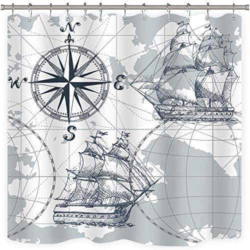 Riyidecor Nautical Sailboat Map Shower Curtain Panel Grey Boat Sketch Ship Wheel Compass Anchor Decor Fabric Set Polyester Waterproof Fabric 72x72 Inch 12 Pack Plastic Included (Boat Curtains)