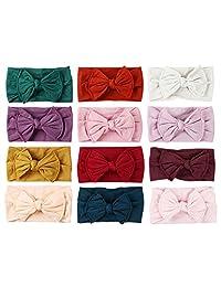 Soft Knot Bow Nylon Headband Nylon Head Wraps Infant Hair Accessory Pack of 12pcs (JFNY033)