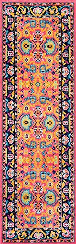 """NuLoom Country & Floral Runner Area Rug 2'5""""x8' in Pink Colo"""