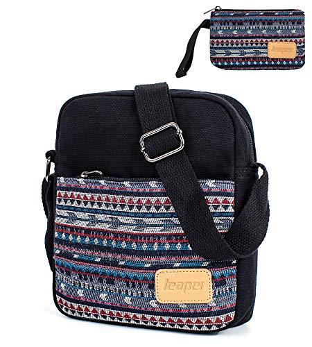 Leaper Canvas Messenger Bag Crossbody Bag Purse Shoulder Bag Black [A3]