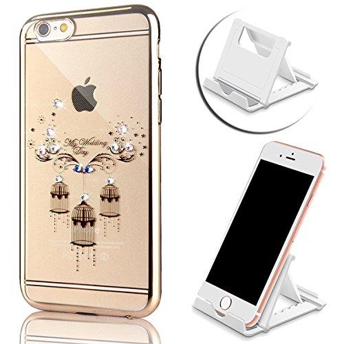 para iPhone 6 Plus Cubierta de la caja del caucho, para iPhone 6s Plus Claro Rhinestone caso TPU de la contraportada del brillo de Bling Con Diseño, Vandot Elegante de Lujo (Oro rosa) Chapado Electrop Color 16