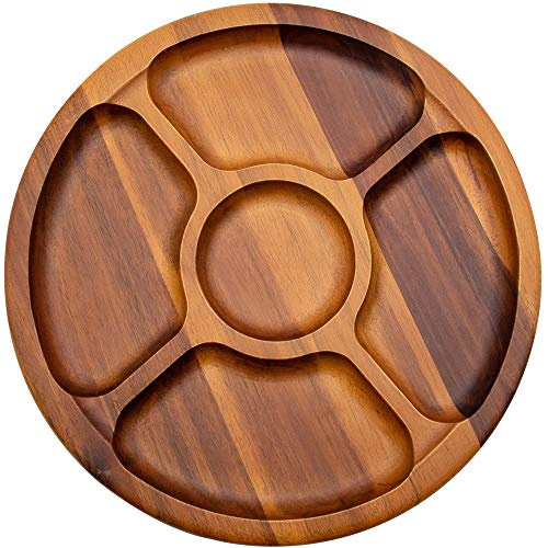 AIDEA Acacia Wood Appetizers Serving Dish - Round Divided Snack Serving Plate Tray 12 Inches