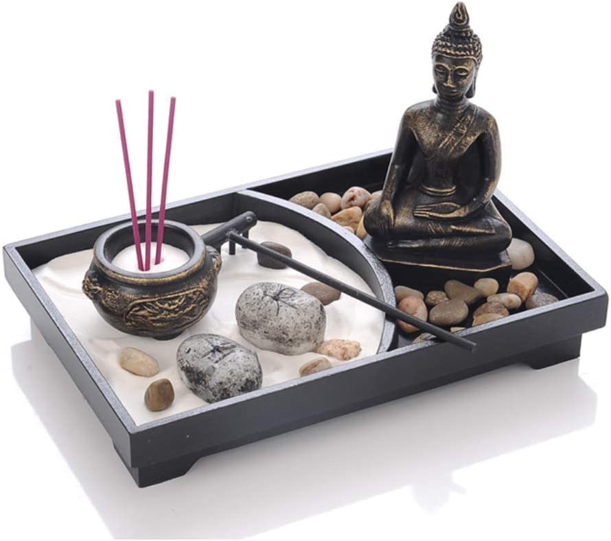 "TA BEST UgyDuky Tabletop Zen Garden with Buddha, Rake, Sand, Rock Candle, Rock Garden, and Incense Holder ¨C Peace and Tranquility - for Home Decor Gift, Meditation, Relax(9""x6""x7"")"