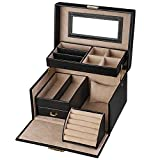 SONGMICS Jewellery Box, Jewellery Case with Drawers, Jewellery Organiser with Mirror and Lock, Travel Jewellery Box for Rings, Bracelets, Earrings, Necklaces, Synthetic Leather and Velvet, Gift, Black, JBC114