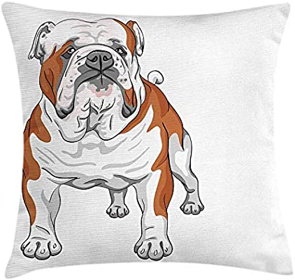English Bulldog Throw Pillow Cushion Cover, Muscular Dog ...