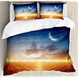 Ocean Decor Duvet Cover Set by Ambesonne, Sunset Sky with Moon and Stars Horizon Scenery Fantasy Artwork Print, 3 Piece Bedding Set with Pillow Shams, Queen / Full, Navy Yellow Orange