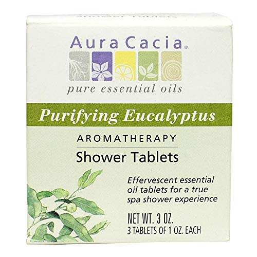 (Aura Cacia - Purifying Eucalyptus Shower Tablet |Pure Essential Oils | Contains 3 Individually-Wrapped 1 oz. Tablets)