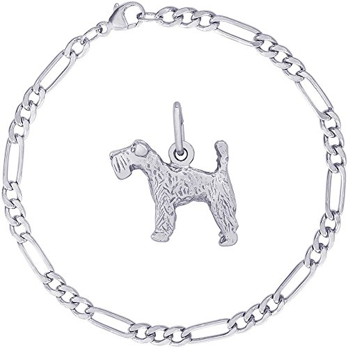 Kerry Terrier Blue Dog Charm (Rembrandt Charms Sterling Silver Kerry Blue Terrier Charm on a Classic Figaro Bracelet, 8
