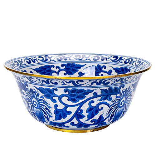 Sea Porcelain - Sea Island Imports Elegant Porcelain Serving Bowl with Blue and White Floral Pattern and Brass Trim