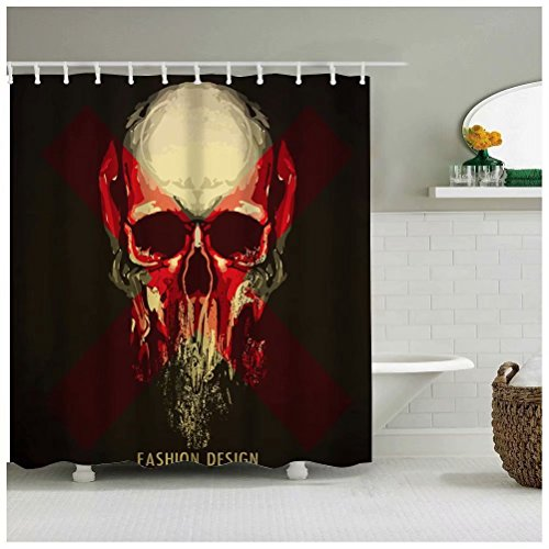 (Sea&Cloud Modern Thrilling Fashion Design Shower Curtain for Happy Halloween Home Decor,The Face of Horrifying Skull is Eroding,72wX72h,Bathroom Accessories,Black and)