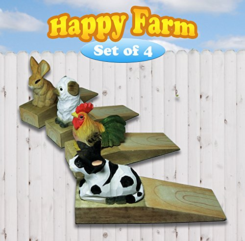 Friendly House Wooden Animal Novelty Wedge Door Stopper (Happy Farm Set of 4) by Friendly House
