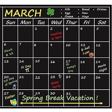 Chalkboard Calendar Sticker Blackboard Organizer - Wall Decal Agenda Monthly Planner for Home, Kitchen, Office, Dorm, Fridge Memo