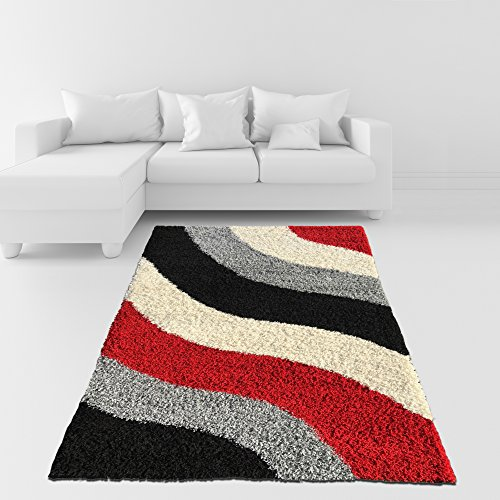 Soft Shag Area Rug 3x5 Geometric Striped Red Grey Black Shaggy Rug - Contemporary Area Rugs for Living Room Bedroom Kitchen Decorative Modern Shaggy Rugs