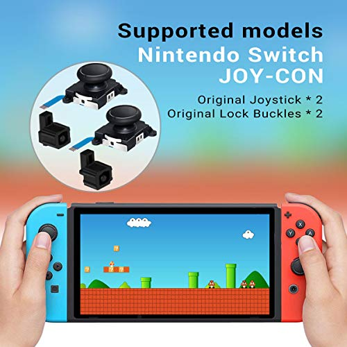2-Pack 3D Analog Joystick Thumb Sticks Sensor Replacement for Switch Joy-Con Controller with Y1.5 +2.0 Screwdriver Tool, Pry Tools, 2pcs Joy Con Original Lock Buckle, 6 Thumbstick Caps and Screws