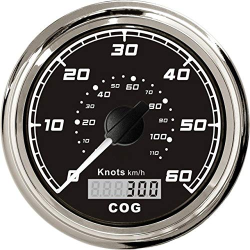 DishyKooker 1pc 85mm Marine GPS speedometers 0-60knots Speed Charts 0-110km/h Speed mileometer with GPS Antenna Black Show
