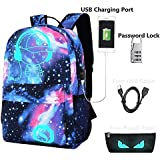 Lmeison Anime Cartoon Luminous Backpack with USB Charging Port and Lock &Pencil Case, Unisex Fashion Galaxy Daypack Shoulder School Rucksack Laptop Travel Bag College Bookbag