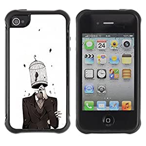 "Hypernova Defender Series TPU protection Cas Case Coque pour Apple iPhone 4 / iPhone 4S [chelovek kostyum kletka ptica""]"