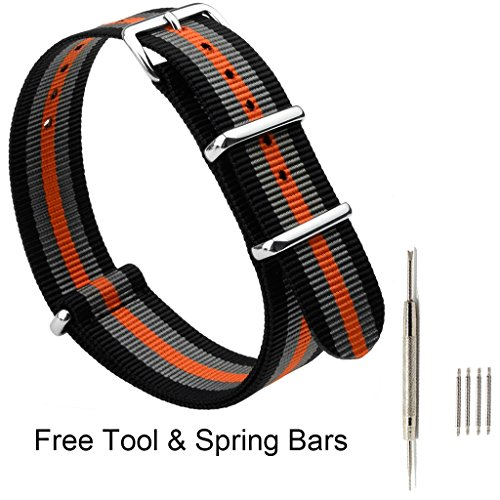 Adebena 20mm Nato Strap Replacement Nylon Watch Band with Stainless Steel Buckle,Pack of 2