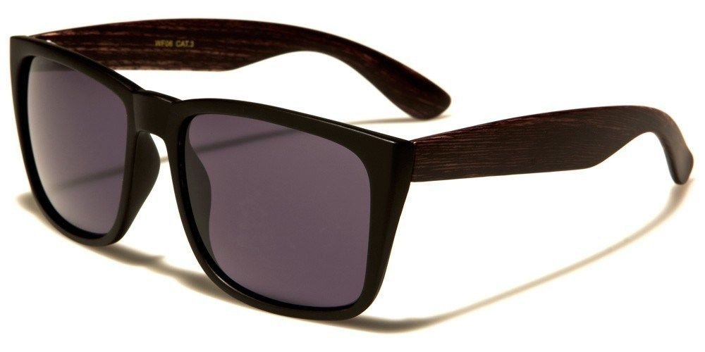 Dark Chocolate Large Vintage Shades Faux Wood Arms Women Men Fashion Sunglasses