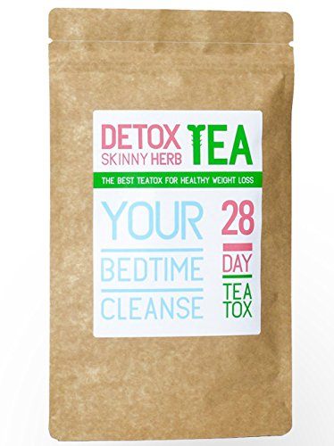 28 Days Bedtime Cleanse Tea: Detox Skinny Herb Tea – Effective Detox Tea, Body Cleanse, Reduce Bloating, Natural Weight Loss Tea, Boost Metabolism, Appetite Suppressant, 100% NATURAL For Sale