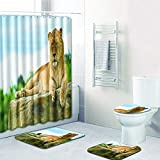 Aibiner Lion Printed Bathroom Rug Shower Curtain Mat 4-Piece Set Non Slip Shower Mat & Contour Rug & Toilet Lid Cover & Shower Curtain Durable Waterproof Home Bathroom Decor