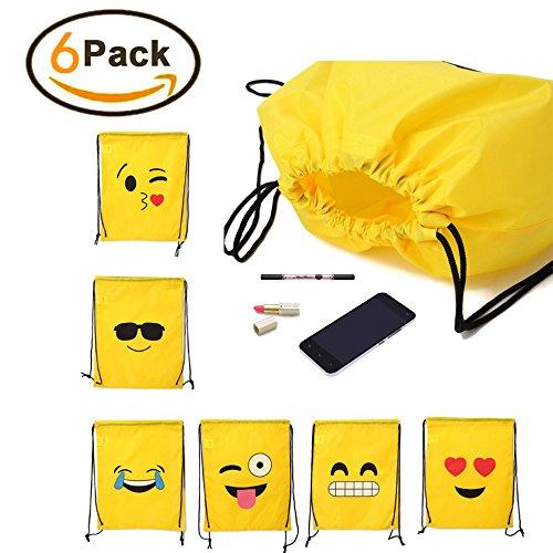 6 Pack Emoji Drawstring Backpack Bags Cute Assorted Emoticon Unisex Emoji Backpacks by jennyus