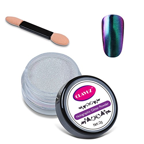 CLAVUZ 2g Chrome Powder Holo Effect Chameleon Color Changing Glitter Nail Powder Manicure Pigments with Sponge Stick Nail Art Tools Kit