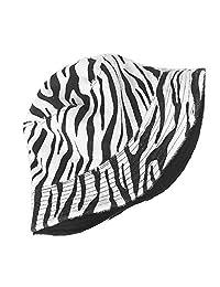 ZSAIMD Bob Coreana Pescador Sombrero Panamá Hip Hop Bob Chapeau Invierno Imprimir la Piel del Leopardo del Sombrero del Cubo Calle Mujeres (Color : Blanco)