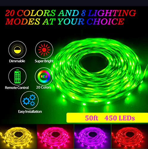 50ft/15M LED Strip Light RGB CesCoo DreamColor Flexible Tape Lights 5050 SMD 450 LEDs Non Waterproof Rope Light with 44 Keys Wireless Controller and 24V Power Supply for Room Kitchen Party TV Deco