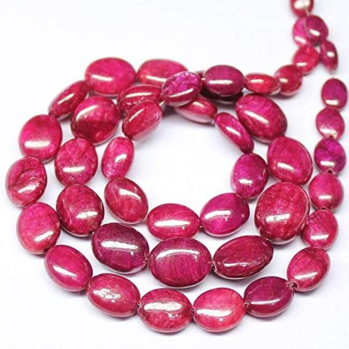 GemAbyss Beads Gemstone Africa Blood Red Ruby Smooth Oval Loose Gemstone Beads 16 Inch Long 5mm 13mm Code-MVG-20968