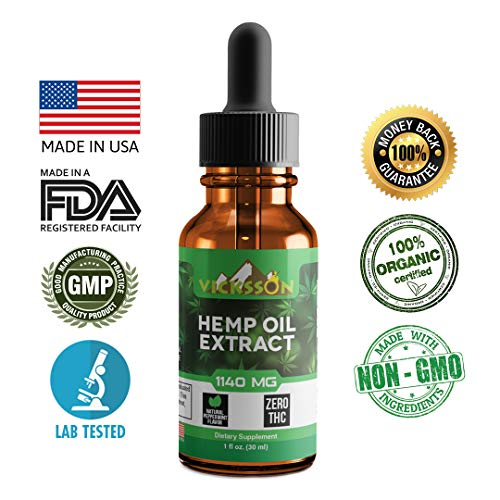 Vicksson Organic Hemp Oil Drops (1140 mg) for Pain & Anxiety Relief, Better Sleep, Mood & Stress, Anti-inflammatory, Joint, Skin, Hair Support Rich in MCT Fatty Acids