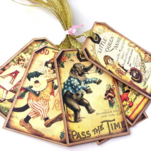Classic Children Storybook Baby Shower Tags - Vintage Favor Journal Planner Bookmark Gift - Set of ()
