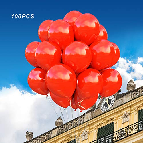 (100 Pack)12 Inch Thicken Round Latex Balloons -red