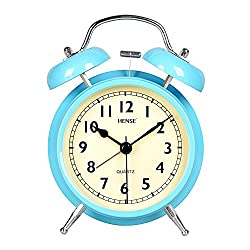 Twin Bell Analog Alarm Clock,Non Ticking Silent Sweeping Movement, Easy To Use, Night Light, Extra Loud Alarm,Great for Travel and Kids - Battery Operated(HM39-004,blue)