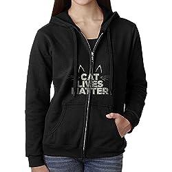 Womens Hoodie Sweatshirt Cat Lives Matter Long Sleeve Zip-up Hooded Sweatshirt Jacket M