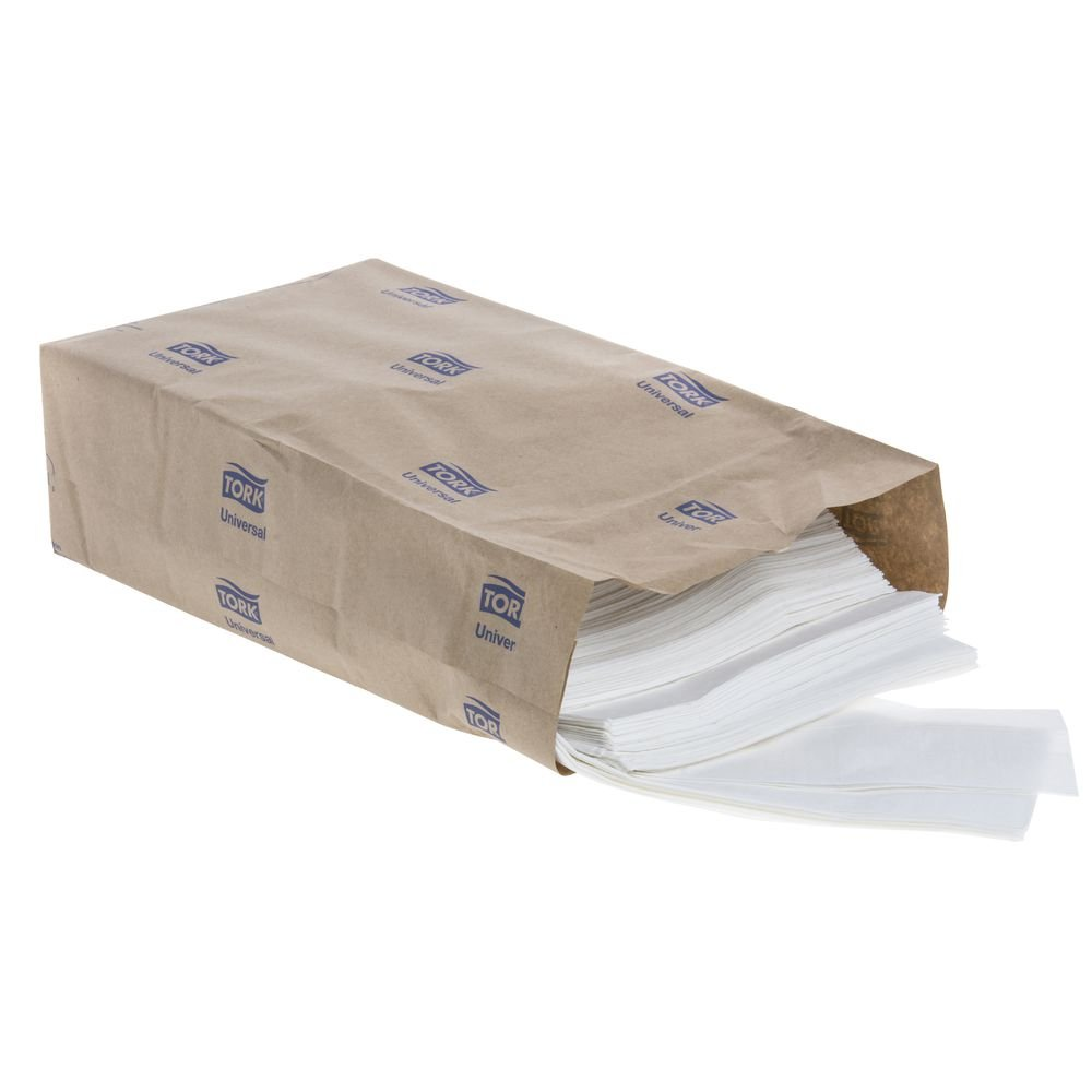 White Tall Fold Napkins - 3 1/2''W x 7 11/16''H by BUNZL (Image #2)