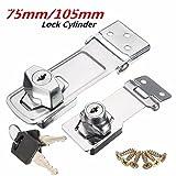 Saver Locking Cylinder HASP Staple Garage Gate Door Lock Padlock with 2 Keys 75/105mm