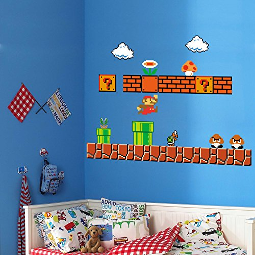 Homeevolution giant super mario build a scene peel and stick wall decals stickers for kids boys - Super mario giant wall decals ...