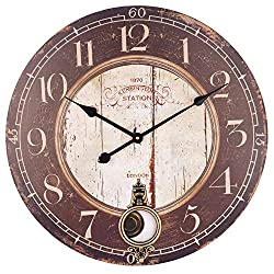 Large Wood Wall Clock, 24 Inch Vintage Silent Non-Ticking Battery Operated Quartz Movement, Rustic Decorative Pendulum Clock for Living/Dining/Bedroom/Kitchen (Black)
