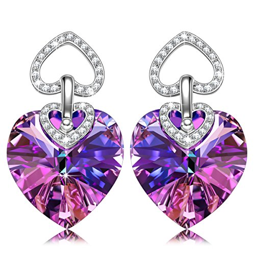 Drop Earrings Jewelry Heart (J.NINA Swarovski Stud Earrings, Heart to Heart Drop Earring Jewelry with Purple Crystal Dangle Earrings Valentines Day Anniversary Birthday Gifts for Women Girlfriend Wife Mother Sister Niece)