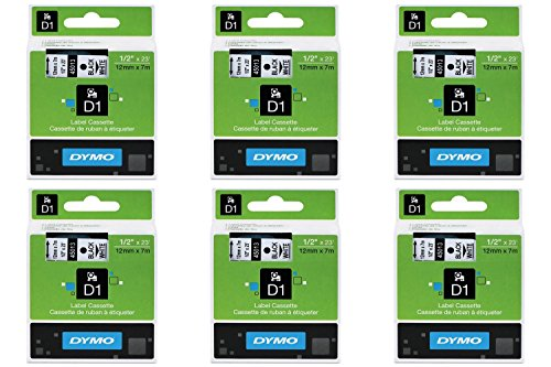 Dymo D1 Standard Tape Cartridge, 1/2in x 23ft, Black on White Tape Cartridge, Pack of 6