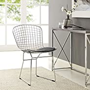 Modway Bertoia Style Side Chair with Black Cushion