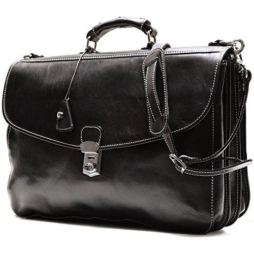 Floto Black Leather Briefcase Messenger Bag