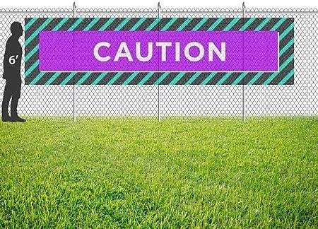 12x3 CGSignLab Caution Modern Block Wind-Resistant Outdoor Mesh Vinyl Banner