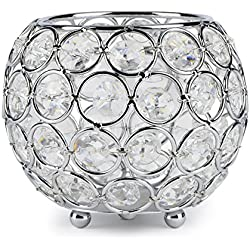 Autai Silver Crystal Candle Holder for Wedding Centerpieces Candlesticks Birthday Party Dining Table Candlelight Home Decoration (Round-Silver)