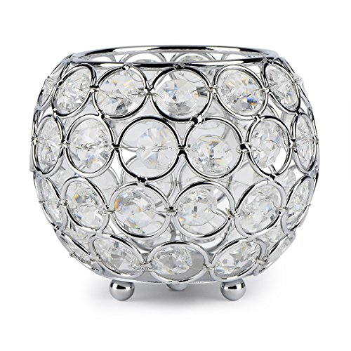 Silver Round Candle - Autai Silver Crystal Candle Holder for Wedding Centerpieces Candlesticks Birthday Party Dining Table Candlelight Home Decoration (Round-Silver)