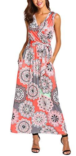 SimpleFun Women Sleeveless Maxi Dress Casual Long Dresses Beach Dresses Bohemian Printed Wrap Dress with -