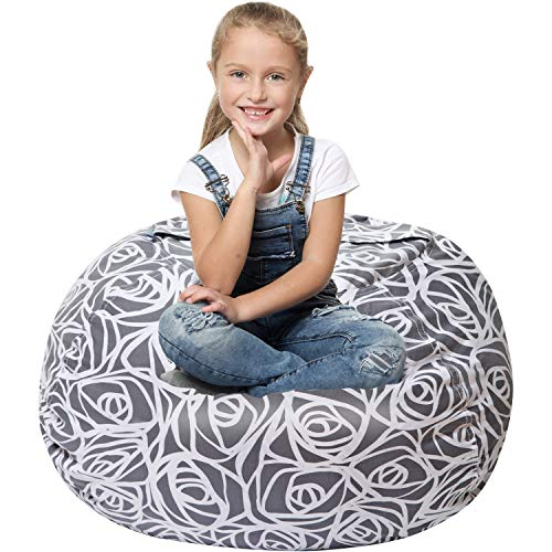 5 STARS UNITED Stuffed Animal Storage Bean Bag - Cover Only - Large Beanbag Chairs for Kids - 90+ Plush Toys Holder and Organizer for Girls - 100% Cotton Canvas Cover - Gray Roses (Animal Chairs Bag Bean)