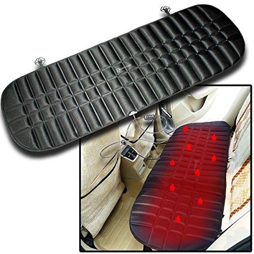 Zento Deals Car Rear Premium Quality Heated Black Seat Cushion-12V Plug Universal Pad Cold Weather Body Warmer